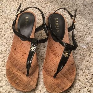 Lauren Ralph Lauren Black Patent Wedge Sandals